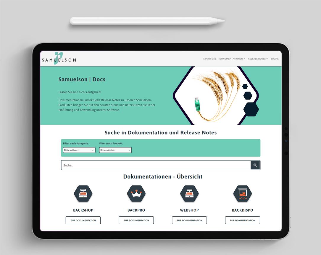 Samuelson | Docs: Startseite und Suche
