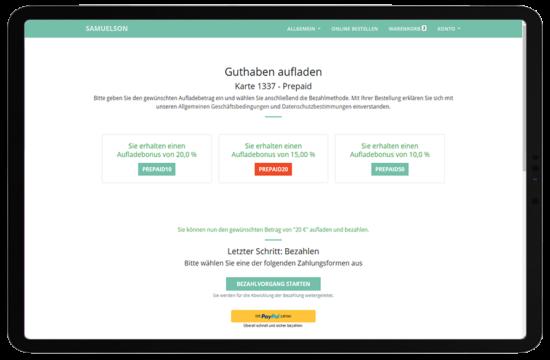 Bäckerei WebShop: Guthaben aufladen