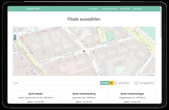 Bäckerei WebShop: Filiale auswählen